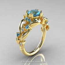 nature inspired engagement rings nature inspired 14k yellow gold 1 0 ct blue topaz leaf and