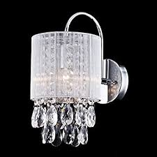 Chandelier Wall Sconce Modern Crystal Wall Sconce With Two Lights Amazon Com