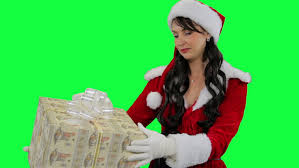 woman with christmas presents business woman carrying pile of red