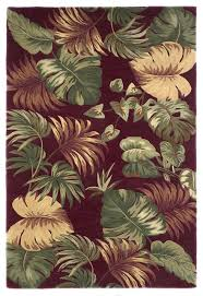 tropical palm leaves red sparta floral kas rug tropical hall