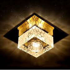 multi colored light fixture 3w crystal square shape led ceiling light flush mounted multi color
