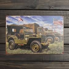 20x30cm army world war ii american jeep sign metal wall decor