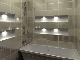 bathroom white bathtub grey bathroom tile wall wall lamps modern