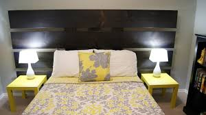Yellow And Gray Wall Decor by Nice Modern Yellow And Gray Bedroom Design With Nice Wooden Bed