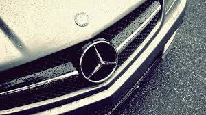 mercedes benz logo rain hd wallpaper