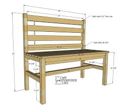 Wood Bench Plans Easy by Wooden Slat Bench Plans Rustic Bench With Back My Repurposed Life