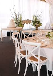 french provincial style wedding country crossback chairs and