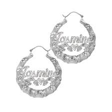 name plated earrings sterling silver or gold plated personalized bamboo style hoop name