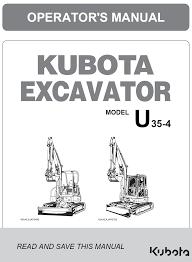 kubota u35 4 operator u0027s manual garton tractor california