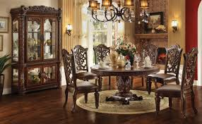 acme vendome 7pc single pedestal round dining room set in cherry acme vendome 7pc single pedestal round dining room set in cherry