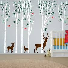 birch tree forest set vinyl nursery wall decal deer 1264 tree