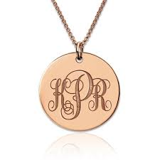 monogram necklaces gold gold disc engraved monogram necklace