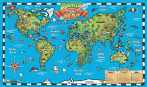 Antarctica World Map by Kid U0027s World Map Interactive Wall Chart Round World Products