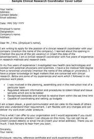 clinical research cover letter coordinator cover letter