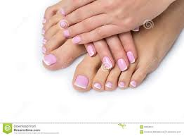 french manicure on beautiful female feet and hands stock images