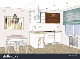 Sketch Kitchen Design by 3d Rendering Modern Kitchen Design Light Stock Illustration