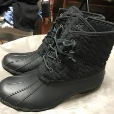 womens sperry duck boots size 11 45 sperry shoes used sperry s duck boot in black size 11 in