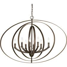 Orb Chandelier Progress Lighting Equinox Collection 8 Light Antique Bronze Orb
