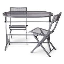 3pc metal folding balcony patio dining set gray threshold