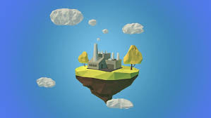 floating island with mountain and clouds in the sky stock footage