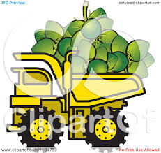 clipart yellow dump truck hauling coconuts royalty free vector