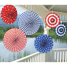 paper fan circle decorations red and blue striped and polka dotted paper fan dangling decorations 6