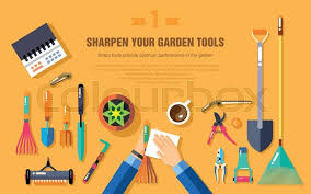 stock vector illustration set of gardening tools for working in