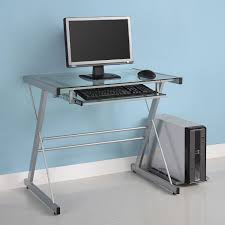 Metal And Glass Computer Desks Modern Glass Metal Desk Computer Office Table Corner Silver