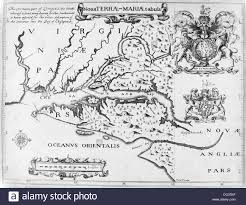 Chesapeake Bay Map 1600s 1635 Map Of Colonial Maryland And Chesapeake Bay Stock Photo