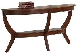 homelegance avalon half moon sofa table in cherry traditional