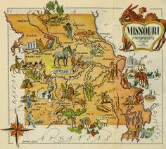 Map Missouri Missouri Pictorial Map 1946