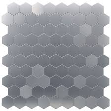 Selfadhesive Metal Mosaic  Pcs Hexagon Peel N Stick Tiles XIn - Peel n stick backsplash