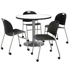 Break Room Table And Chairs by All Silver Base Cafe Table With Four Mobile Stack Chairs By Kfi