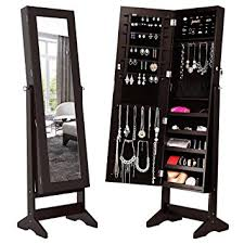 mirror jewelry armoires amazon com langria lockable jewelry cabinet jewelry armoire with