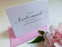 thank you bridesmaid cards to my bridesmaid my best friend wedding thank you card pink