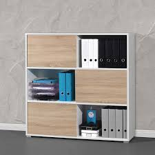 rangements bureau armoire de bureau basse bois et blanc leader bureaus
