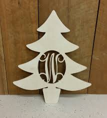 unpainted wooden christmas tree door hanger with connected