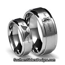 his and rings set his angel and cowboy couples ring set southern designs