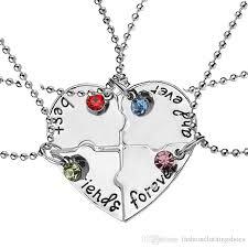 best friend heart necklace images Wholesale 2017 best friends forever rhistone broken heart shape ff jpg