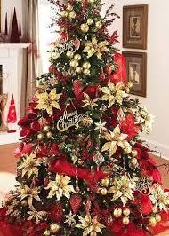 poinsettia gold from raz imports trees decorated