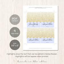 editable wedding place cards gold chevron printable seating