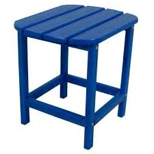 Patio Table Plastic Blue Plastic Outdoor Side Tables Patio Tables The Home Depot