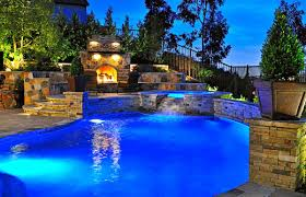Pool Garden Ideas by Above Ground Swimming Pool Landscaping Ideas With Wooden Deck In