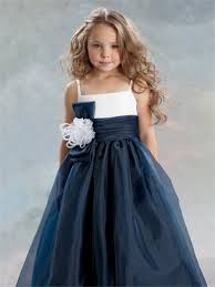 line princess spaghetti strap tea length navy blue organza flower