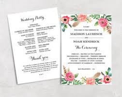 printable wedding programs greenery wedding program template printable wedding programs