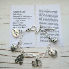 armor of god handmade charm bracelet card with bible verse