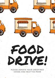 food drive poster template free orange food truck illustration food drive flyer templates by canva
