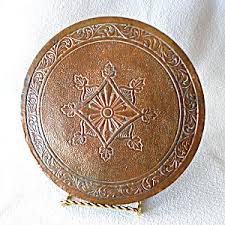 arts and crafts antique copper plate kitchen trivet vintage