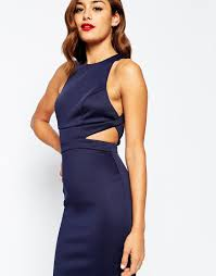 asos cut out back bodycon midi dress in blue lyst