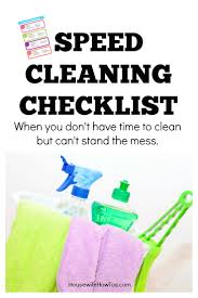 speed cleaning checklist free printable routine